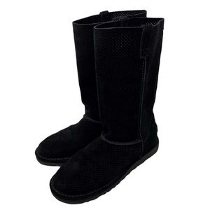 UGG Unlined Perforated Suede Classic Boots Black 7